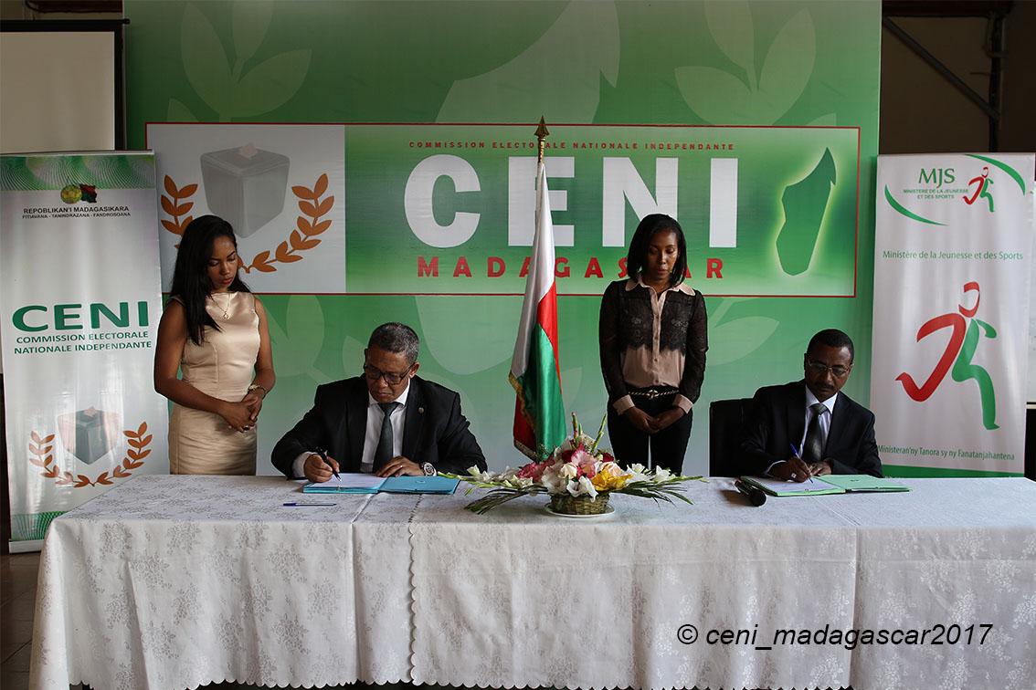 Convention de partenariat entre la CENI et le Ministère de la Jeunesse