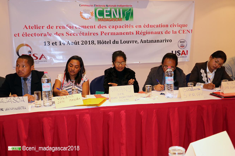 Atelier de renforcement des capacités en éducation civique et électorale des Secrétaires Permanents Régionaux de la CENI