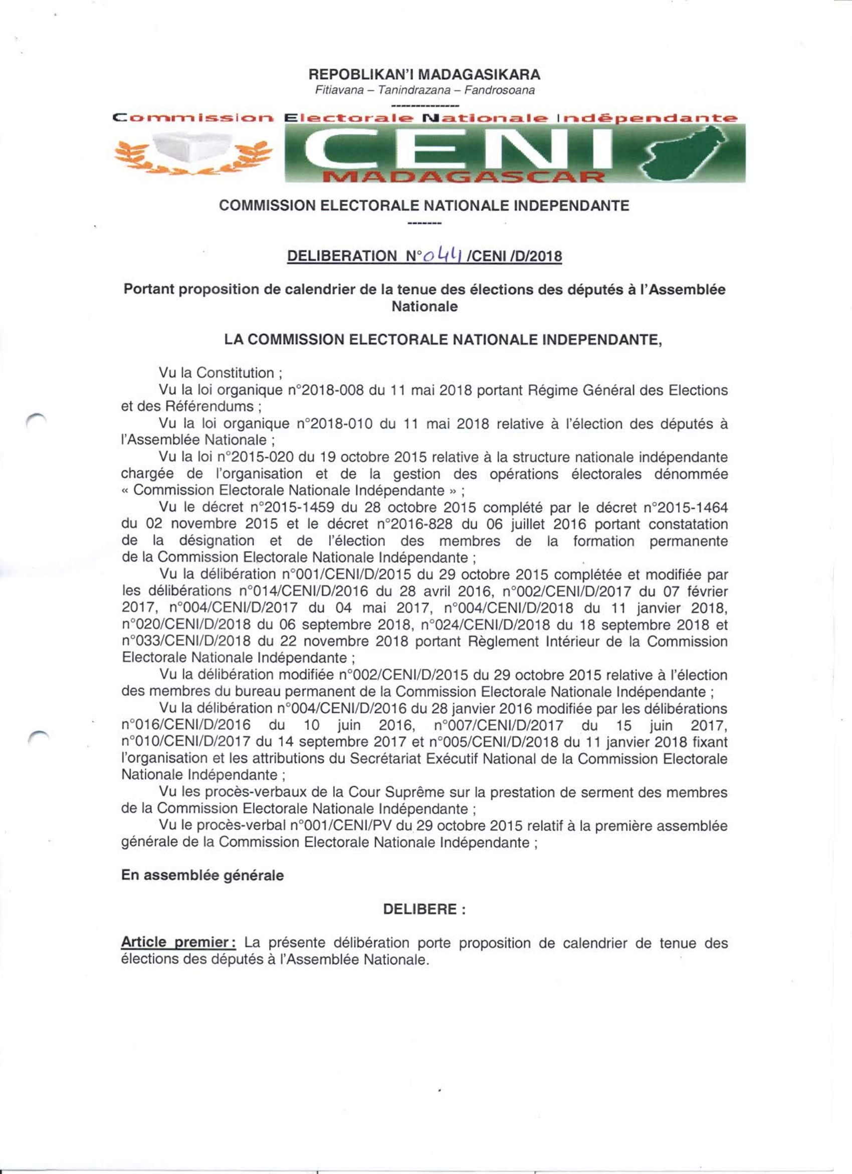 Proposition de calendrier de la tenue des élections des députés à l'Assemblée Nationale