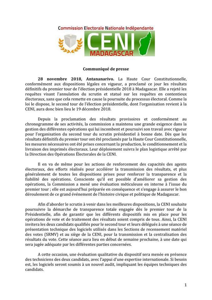 Communiqué de la CENI suite à la proclamation officielle des résultats par la HCC