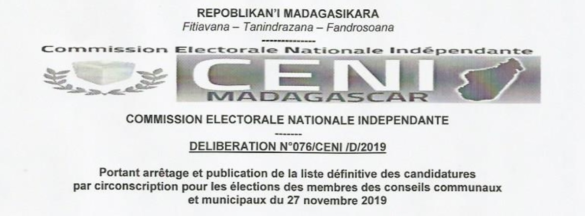 Déliberation n°77/CENI/D/2019 portant arrêtage et publication de liste définitive des candidatures par circonscription pour les élections des membres des conseils communaux et municipaux du  27 Novembre 2019