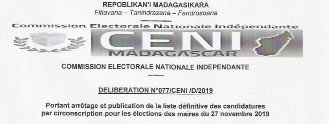 Déliberation n°76/CENI/D/2019 portant arrêtage et publication de liste définitive des candidatures par circonscription pour les élection des maires du 27 novembre 2019