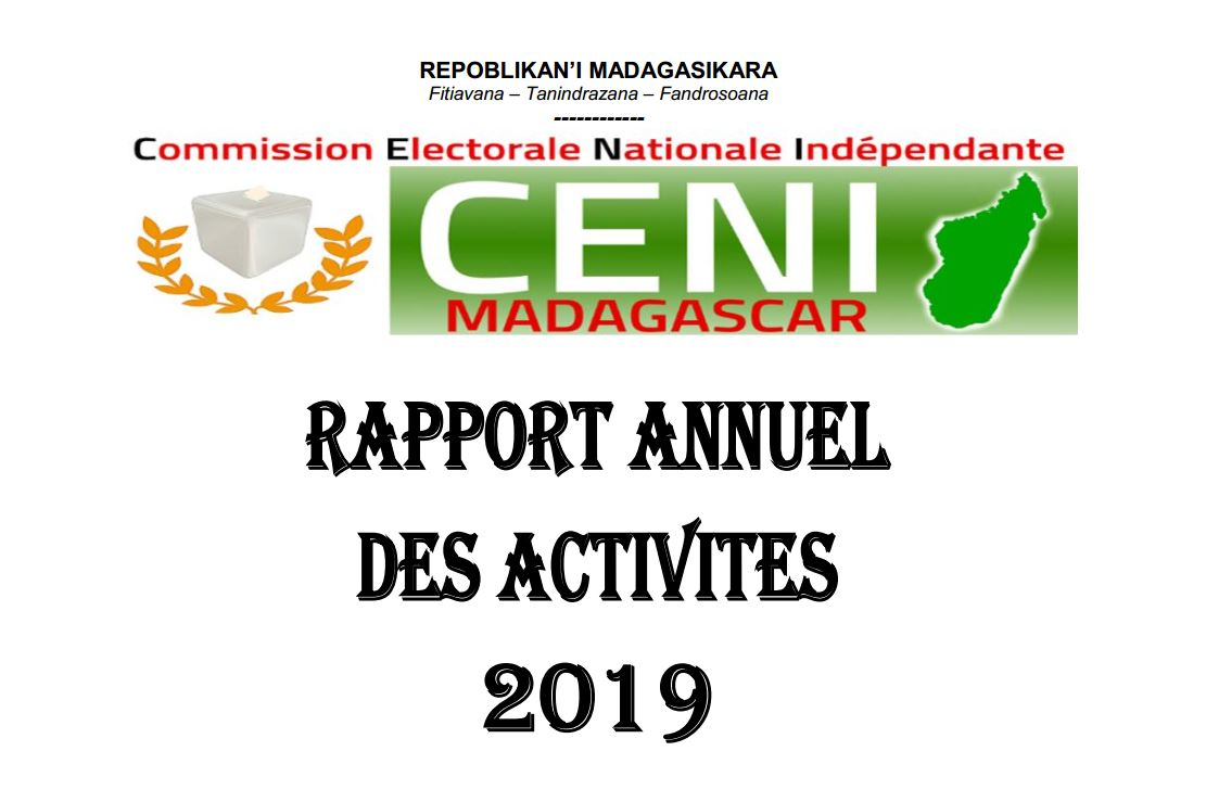 RAPPORT ANNUEL D'ACTIVITES 2019