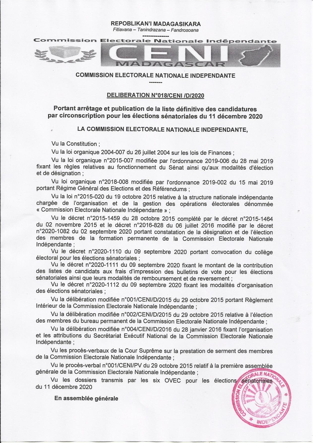 Délibération portant arrêtage et publication de la liste officielle des candidats aux élections sénatoriales