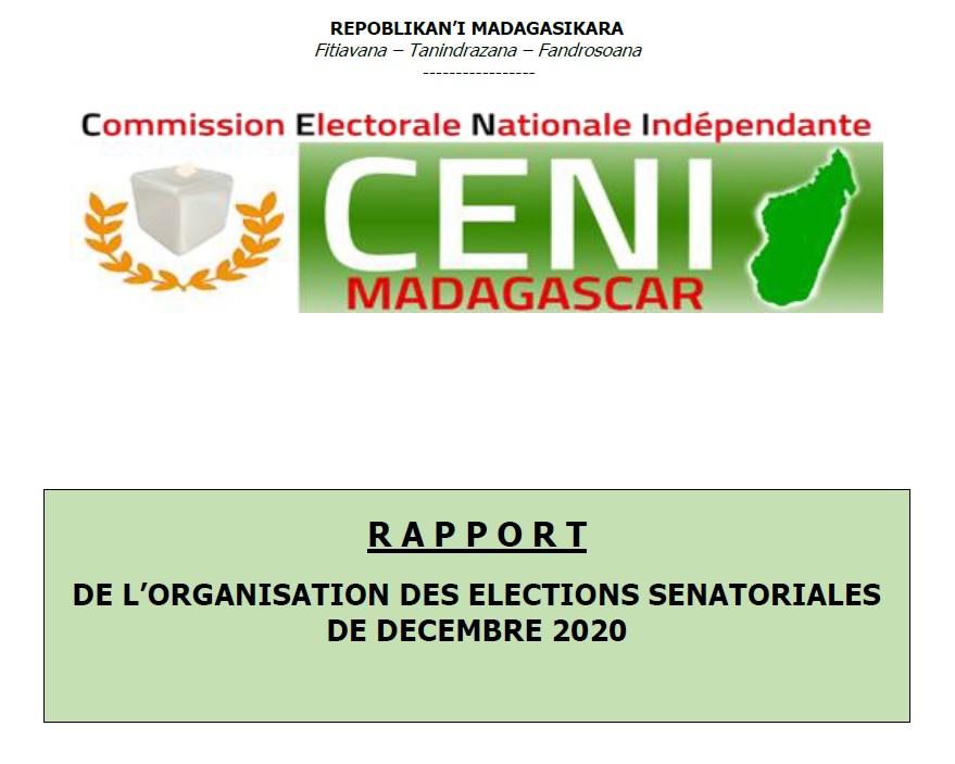 Rapport de l'organisation  des élections sénatoriales de Décembre 2020